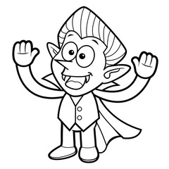 Black And White Dracula Mascot is welcome. Halloween Day Isolated Vampire Vector Illustration.