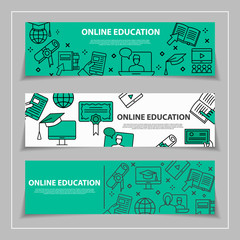 Online education and learning horizontal web banners with line