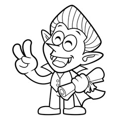Black And White Dracula Mascot Quality warranty and victory gesture. Halloween Day Isolated Vampire Vector Illustration.