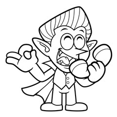 Black And White Dracula Mascot is a phone and an OK gesture. Halloween Day Isolated Vampire Vector Illustration.
