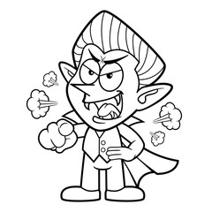 Black And White Dracula Mascot getting angry. Halloween Day Isolated Vampire Vector Illustration.