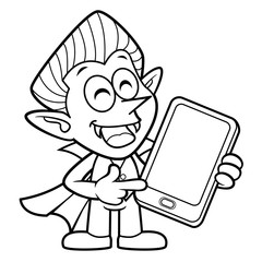 Black And White Dracula Mascot is holding a Smartphone. Halloween Day Isolated Vampire Vector Illustration.
