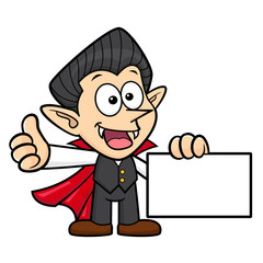 Dracula Character Business Card and Thumb Up Gesture. Halloween Day Isolated Vampire Vector Illustration.