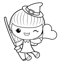 Black And White Witch Mascot is holding a broom and heart. Halloween Day Isolated Sorceress Vector Illustration.