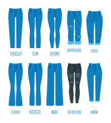 Women jeans styles collection. Denim fashion female pants. Trendy models of cotton trousers for modern girl. Flat vector icons. Clothing guide infographics