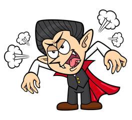 Dracula Character flare up. Halloween Day Isolated Vampire Vector Illustration.