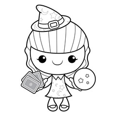 Black And White Witch Mascot dire les cartes. Halloween Day Isolated Sorceress Vector Illustration.