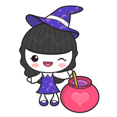 Witch Character and Love Potion. Halloween Day Isolated Sorceress Vector Illustration.