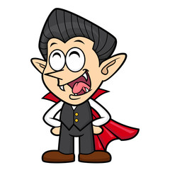 Cartoon Funny Dracula Character orders. Halloween Day Isolated Vampire Vector Illustration.