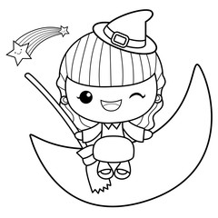 Black And White Witch Mascot is sitting on the moon. Halloween Day Isolated Sorceress Vector Illustration.