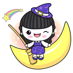 Witch Character is sitting on the moon. Halloween Day Isolated Sorceress Vector Illustration.