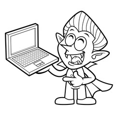 Black And White Funny Dracula Mascot is holding a Laptop. Halloween Day Isolated Vampire Vector Illustration.