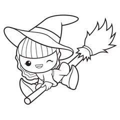 Black And White Witch Mascot fly in the sky. Halloween Day Isolated Sorceress Vector Illustration.