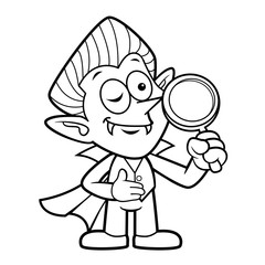 Black And White Dracula Mascot is holding the Magnifier. Halloween Day Isolated Vampire Vector Illustration.