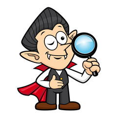 Dracula Character is holding a Magnifying Glass. Halloween Day Isolated Vampire Vector Illustration.