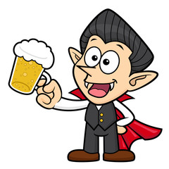 Dracula Character is drink beer. Halloween Day Isolated Vampire Vector Illustration.