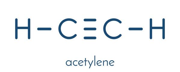 Acetylene (ethyne) molecule. Used in oxy-acetylene welding. Skeletal formula.
