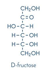 Fructose (D-fructose) fruit sugar molecule. Component of high-fructose corn syrup (HFCS). Skeletal formula.