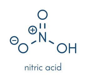 Nitric acid (HNO3) strong mineral acid molecule. Used in production of fertilizer and explosives. Skeletal formula.
