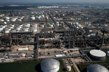 An aerial view of the Shell Deer Park Manufacturing Complex is seen in Deer Park, Texas,