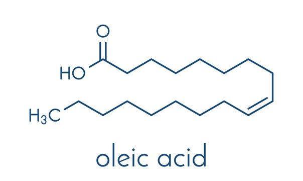 Oleic acid (omega-9, cis) fatty acid. Common in animal fats and vegetable oils. Its salt, sodium oleate, is often used in soap. Skeletal formula.