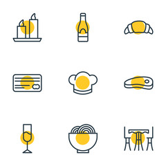 Vector Illustration Of 9 Restaurant Icons. Editable Pack Of Bacon, Bowl, Fire Wax And Other Elements.