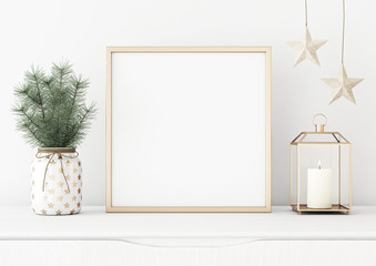 Square poster mock up with golden frame, lantern, stars and pine branches in vase on white wall background. 3D rendering.