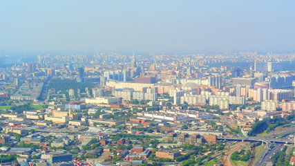panorama of Moscow from the height of a skyscraper in Moscow-City