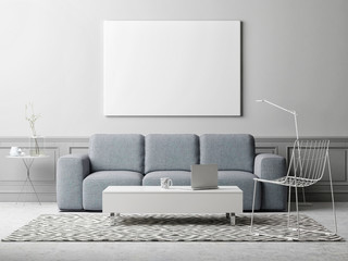 White poster in living room, scandinavian design, 3d illustration