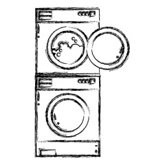 figure electronic washing machine and dryer to clean vector illustration