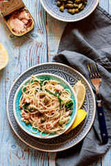 Pasta with smoked salmon and capers