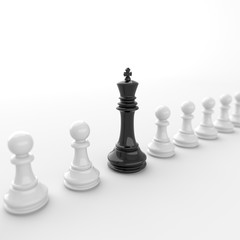 Leadership concept, black king of chess, standing out from the crowd of white pawns, on white background. 3D rendering.