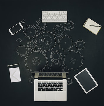 Gears and technological devices system at work