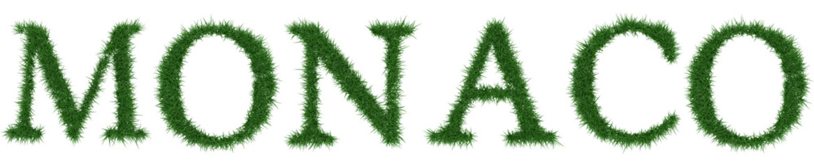 Monaco - 3D rendering fresh Grass letters isolated on whhite background.