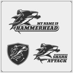 The emblems with hammerhead shark for a sport team.