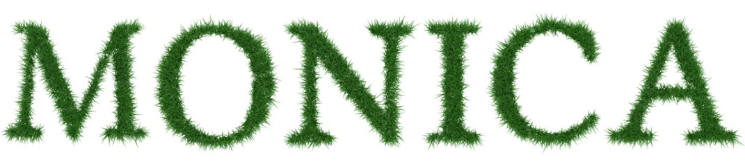 Monica - 3D rendering fresh Grass letters isolated on whhite background. Wall mural