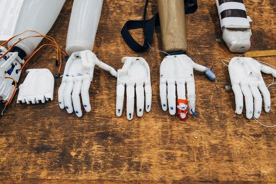 An assortment of DIY built 3D printed hands.