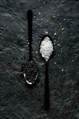 Black and white food salt seasoning