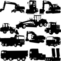 Construction machine silhouette - vector