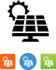 Solar Panel With Sun Icon - Illustration