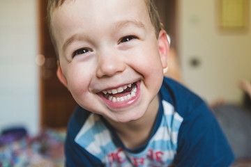 Happy Toddler at Home Smiling at Camera