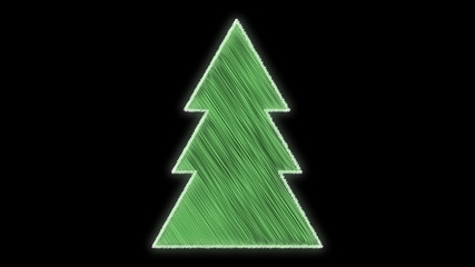 hand drawn festive christmas tree green