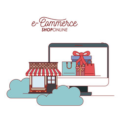 display computer with wallpaper inside of set gift and bag shopping with storage house into the clouds e-commerce shop online on white background vector illustration