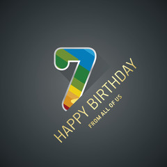 Happy Birthday 7 years color black design greeting card