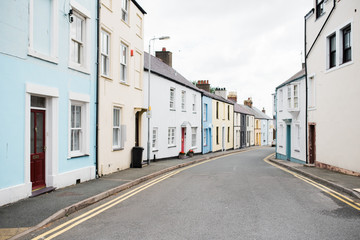 colorful houses in street in Wales