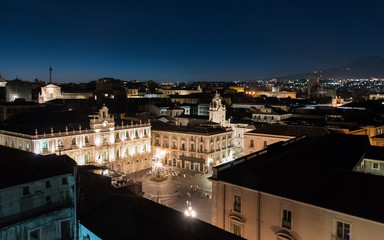 Night view of Piazza Universita' in Catania, seen from above