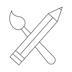 pencil and paint brush icon over white background vector illustration