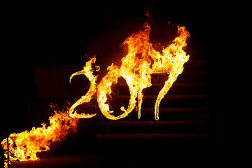 Burning numbers 2017, as the symbol of the end of the year. Meeting 2018