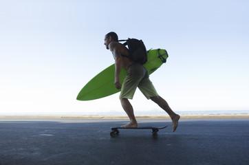 Surfer on skateboard