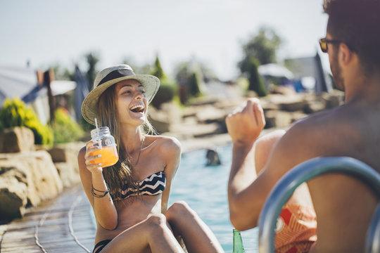 Woman in Bikini Laughing